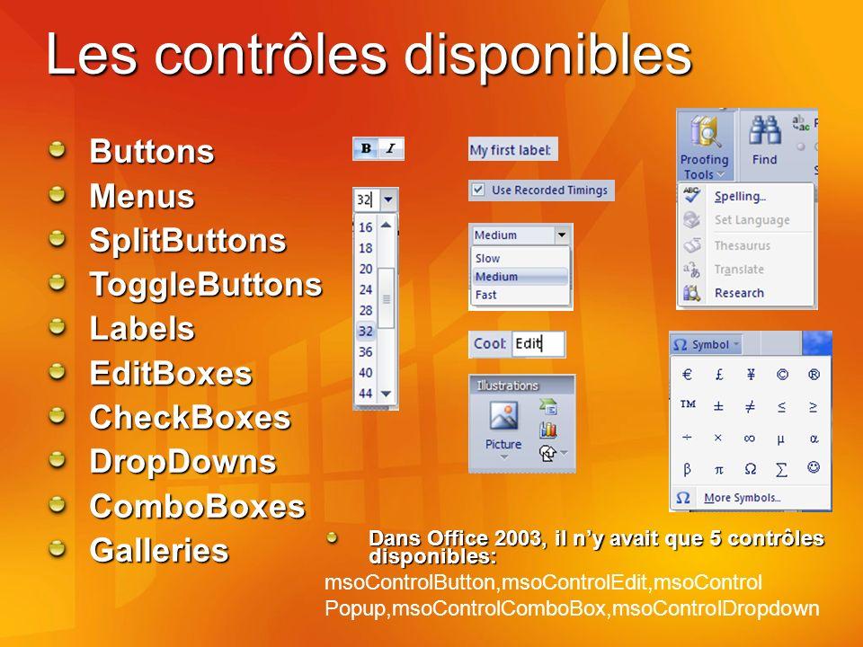 Les contrôles disponibles Dans Office 2003, il ny avait que 5 contrôles disponibles: msoControlButton,msoControlEdit,msoControl Popup,msoControlComboBox,msoControlDropdown ButtonsMenusSplitButtonsToggleButtonsLabelsEditBoxesCheckBoxesDropDownsComboBoxesGalleries