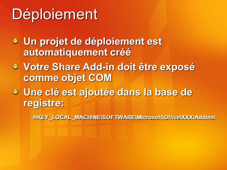 Déploiement Un projet de déploiement est automatiquement créé Votre Share Add-in doit être exposé comme objet COM Une clé est ajoutée dans la base de