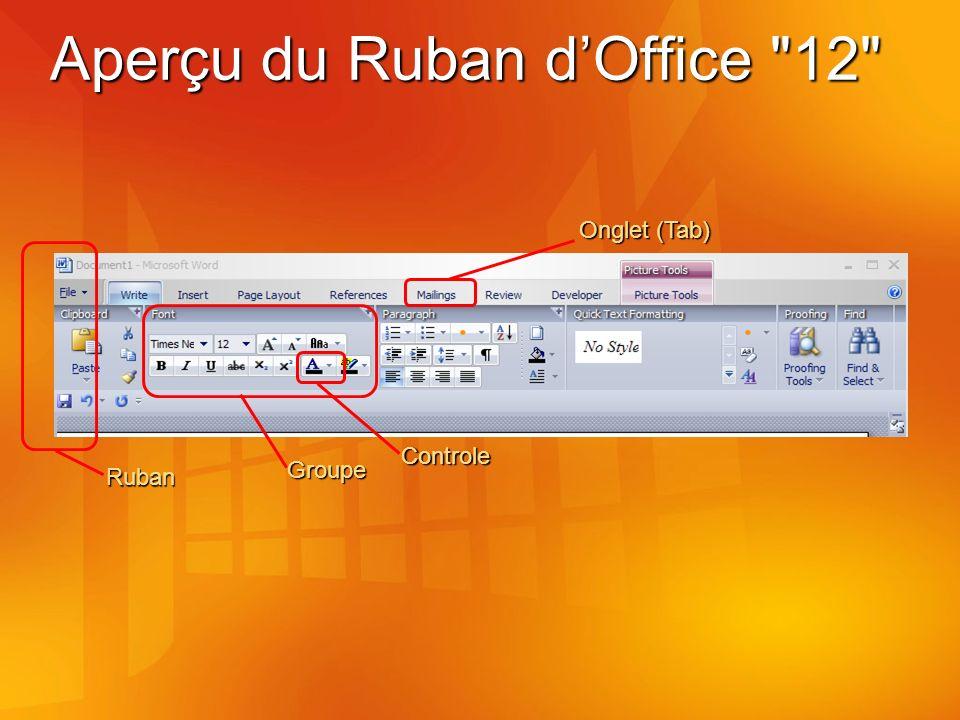 Aperçu du Ruban dOffice 12 Onglet (Tab) Groupe Ruban Controle
