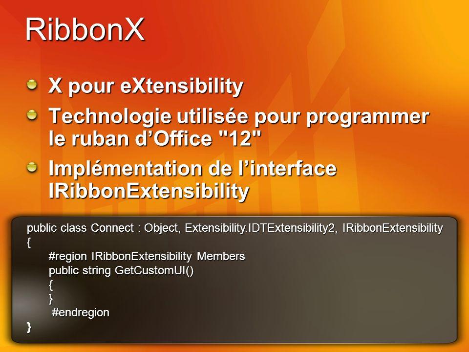 RibbonX X pour eXtensibility Technologie utilisée pour programmer le ruban dOffice 12 Implémentation de linterface IRibbonExtensibility public class Connect : Object, Extensibility.IDTExtensibility2, IRibbonExtensibility { #region IRibbonExtensibility Members public string GetCustomUI() {} #endregion #endregion}