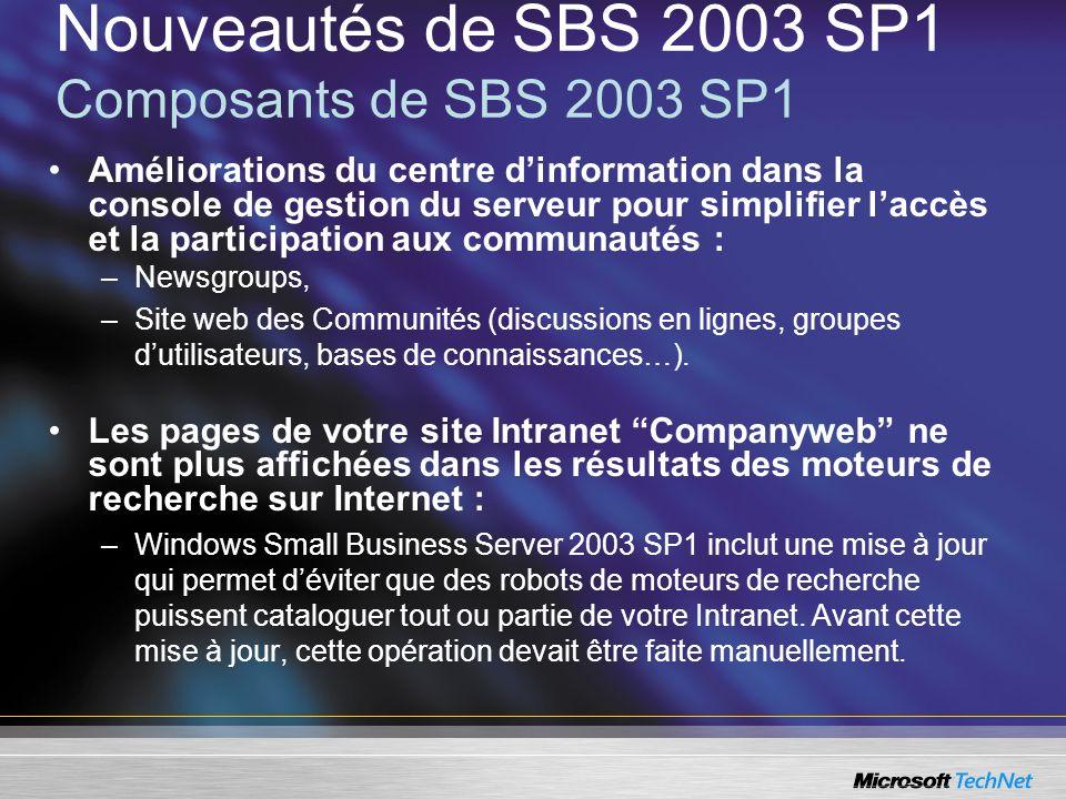 Nouveautés de SBS 2003 SP1 Composants de SBS 2003 SP1 Améliorations du centre dinformation dans la console de gestion du serveur pour simplifier laccè