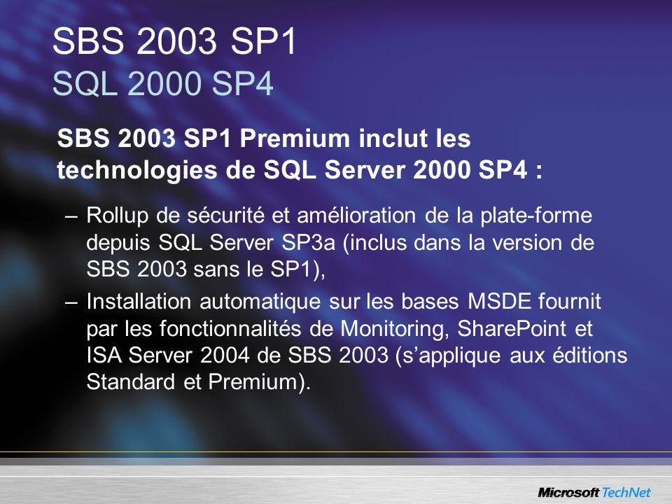 SBS 2003 SP1 Premium inclut les technologies de SQL Server 2000 SP4 : –Rollup de sécurité et amélioration de la plate-forme depuis SQL Server SP3a (in