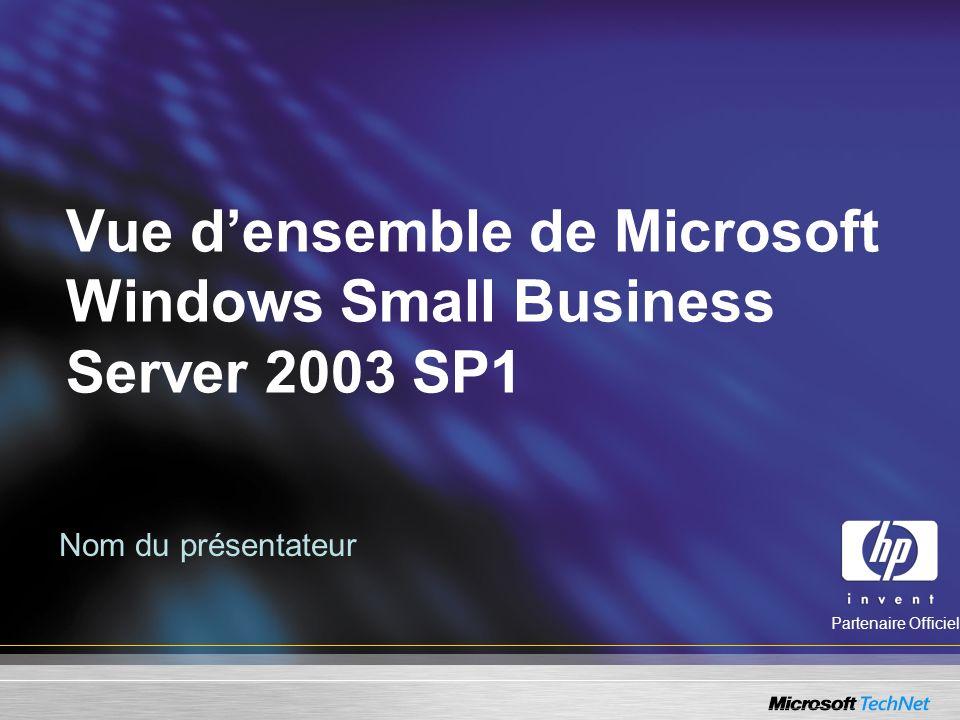 Administration SBS 2003 Technologies Windows Server 2003 Sécurité améliorée, Administration à distance, Améliorations pour la gestion des fichiers : –Dossiers offline, –EFS, –Outils mode commande, –Gestion des permissions plus simple à administrer.