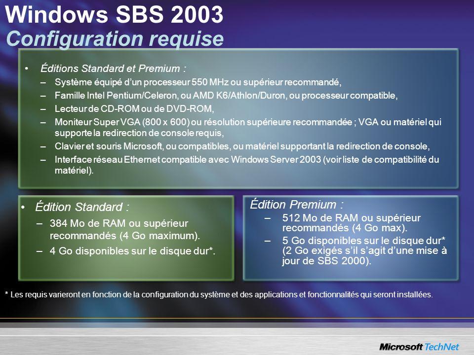 Windows SBS 2003 Configuration requise Édition Standard : –384 Mo de RAM ou supérieur recommandés (4 Go maximum). –4 Go disponibles sur le disque dur*