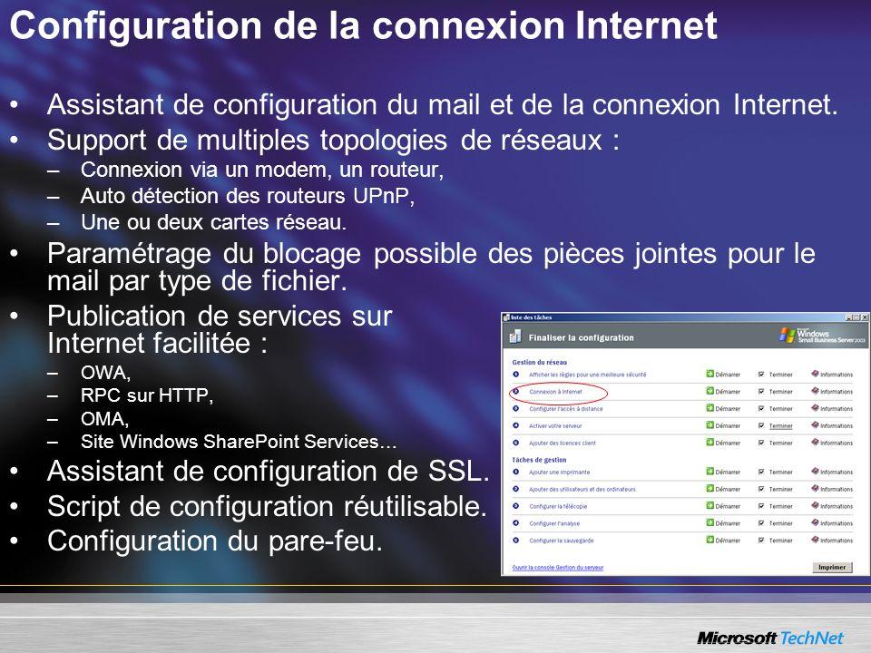 Configuration de la connexion Internet Assistant de configuration du mail et de la connexion Internet. Support de multiples topologies de réseaux : –C