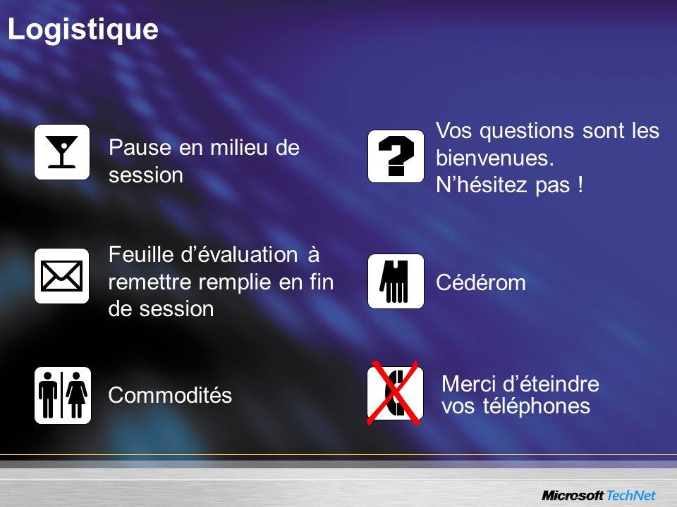 Logistique Pause en milieu de session Vos questions sont les bienvenues. Nhésitez pas ! Feuille dévaluation à remettre remplie en fin de session Cédér