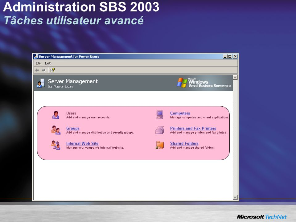 Administration SBS 2003 Tâches utilisateur avancé