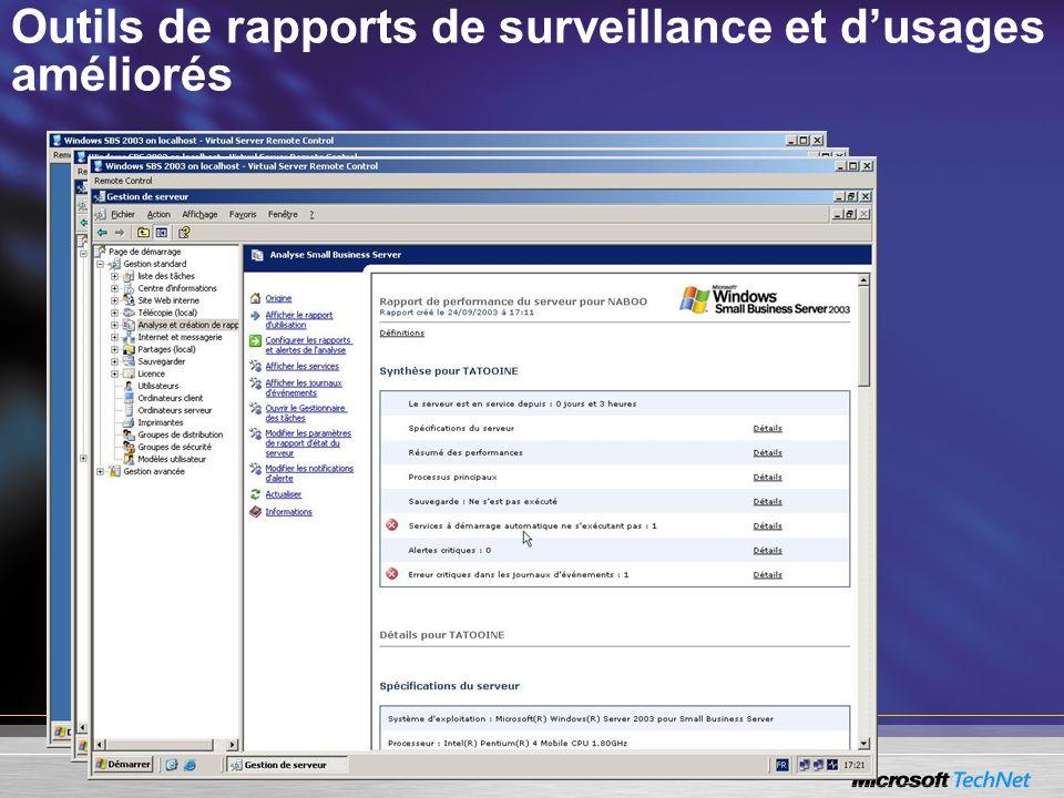 Outils de rapports de surveillance et dusages améliorés