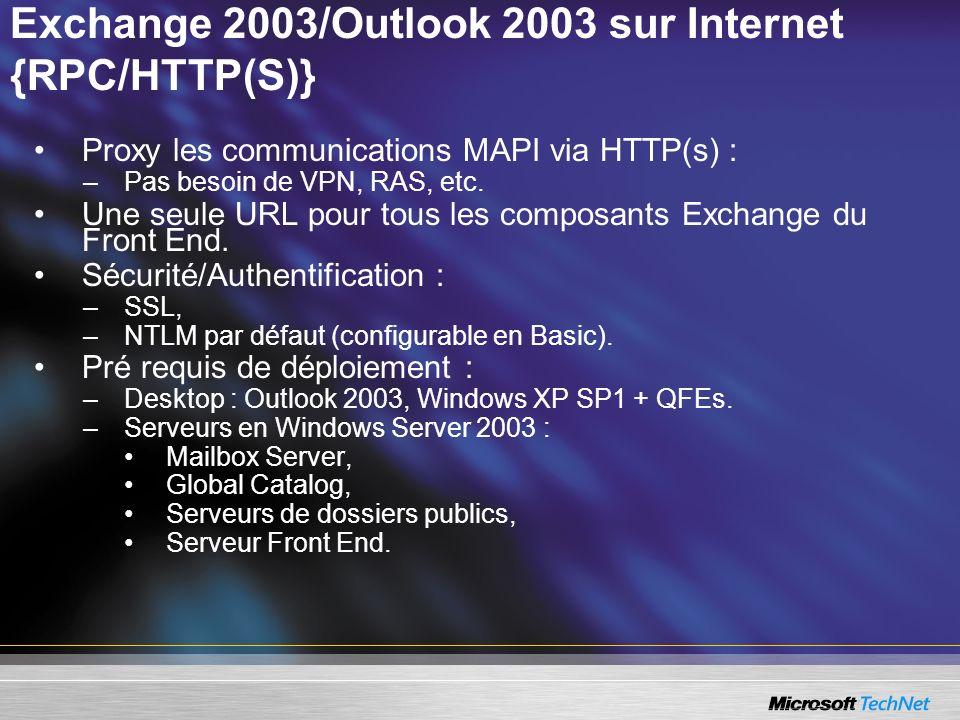 Exchange 2003/Outlook 2003 sur Internet {RPC/HTTP(S)} Proxy les communications MAPI via HTTP(s) : –Pas besoin de VPN, RAS, etc. Une seule URL pour tou