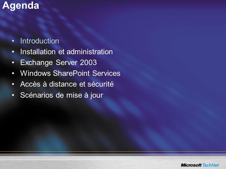 SBS 2003 SP1 Exchange Server 2003 SP1 SBS 2003 SP1 inclut les technologies du SP1 de Microsoft Exchange Server 2003 : –Exchange Server 2003 est configuré pour rejeter automatiquement les emails envoyés aux comptes qui nexistent pas dans Active Directory, –Nouvelle fonctionnalité pour éviter que des spammers puissent récupérer des comptes valides présents dans Active Directory.