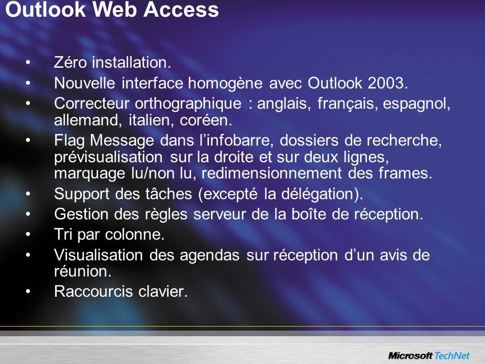 Outlook Web Access Zéro installation. Nouvelle interface homogène avec Outlook 2003. Correcteur orthographique : anglais, français, espagnol, allemand
