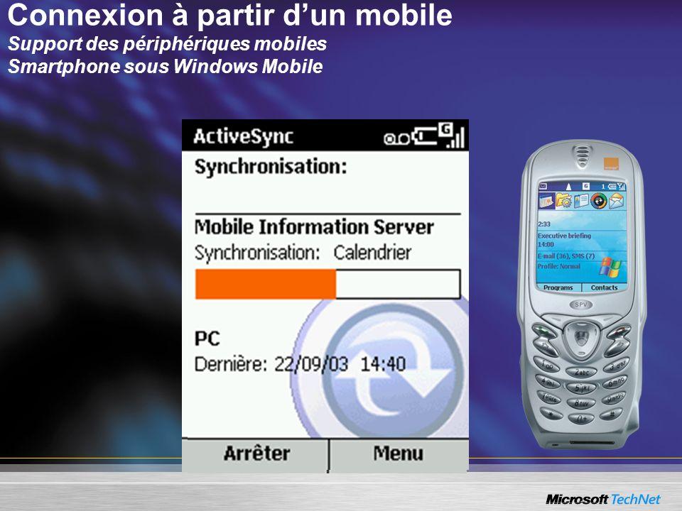 Connexion à partir dun mobile Support des périphériques mobiles Smartphone sous Windows Mobile
