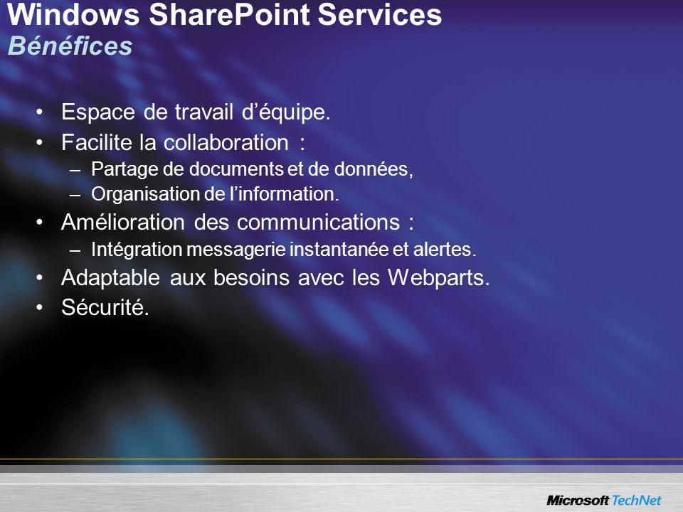 Windows SharePoint Services Bénéfices Espace de travail déquipe. Facilite la collaboration : –Partage de documents et de données, –Organisation de lin