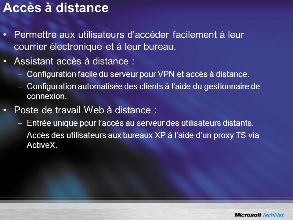 Accès à distance Permettre aux utilisateurs daccéder facilement à leur courrier électronique et à leur bureau. Assistant accès à distance : –Configura