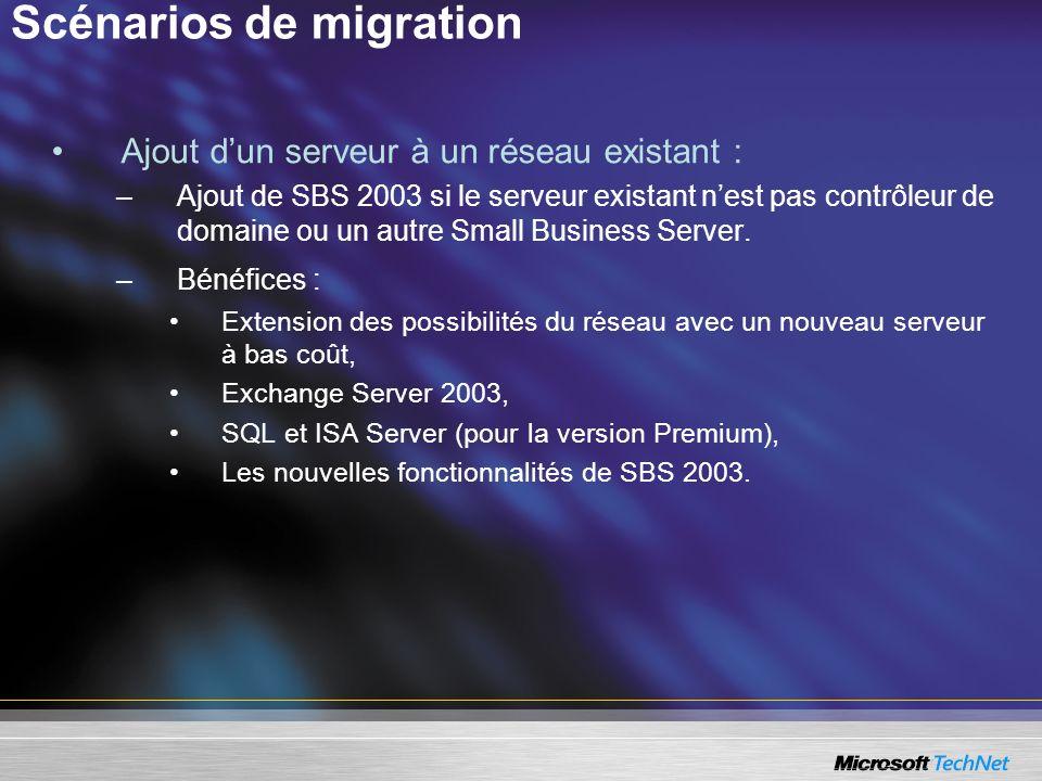 Scénarios de migration Ajout dun serveur à un réseau existant : –Ajout de SBS 2003 si le serveur existant nest pas contrôleur de domaine ou un autre S