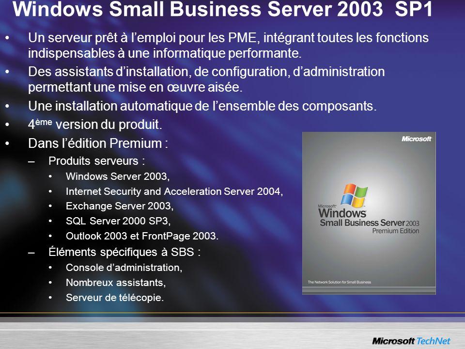 SBS 2003 SP1 ISA Server 2004 SBS 2003 SP1 Premium inclut Microsoft Internet and Security Acceleration (ISA) Server 2004 : –Firewall complet avec filtrage applicatif, –Virtual private network (VPN).
