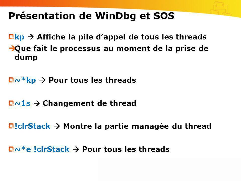 Présentation de WinDbg et SOS kp Affiche la pile dappel de tous les threads Que fait le processus au moment de la prise de dump ~*kp Pour tous les thr