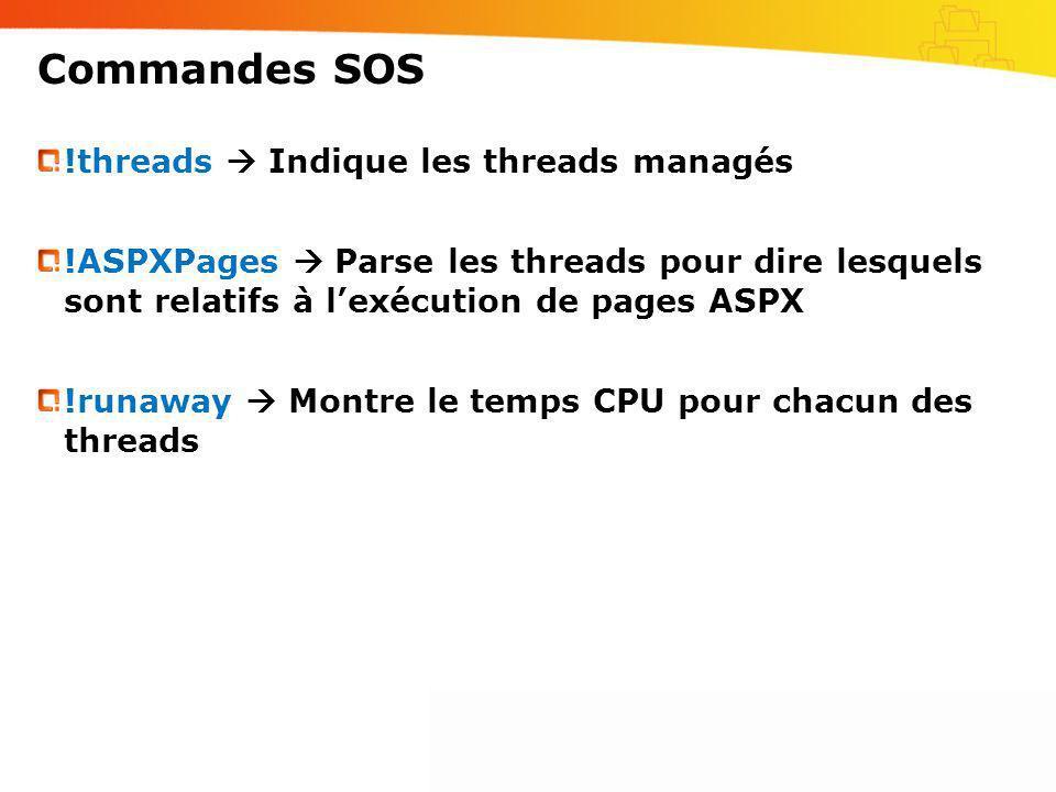 Commandes SOS !threads Indique les threads managés !ASPXPages Parse les threads pour dire lesquels sont relatifs à lexécution de pages ASPX !runaway M