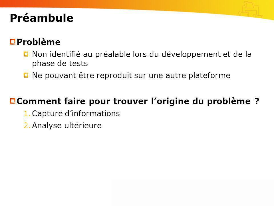 Préambule Problème Non identifié au préalable lors du développement et de la phase de tests Ne pouvant être reproduit sur une autre plateforme Comment
