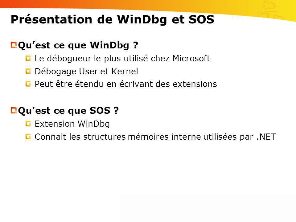 Présentation de WinDbg et SOS Quest ce que WinDbg ? Le débogueur le plus utilisé chez Microsoft Débogage User et Kernel Peut être étendu en écrivant d