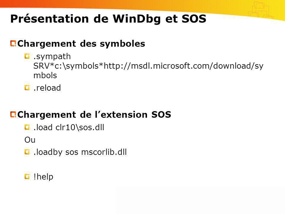 Présentation de WinDbg et SOS Chargement des symboles.sympath SRV*c:\symbols*http://msdl.microsoft.com/download/sy mbols.reload Chargement de lextensi