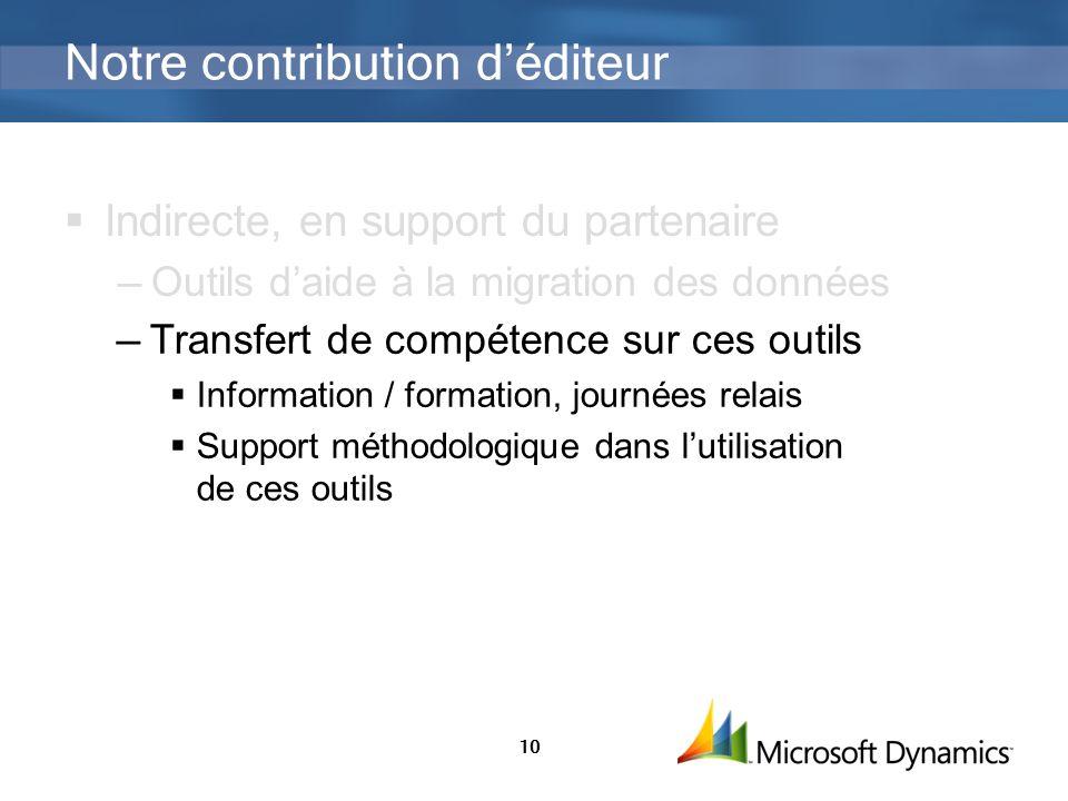10 Notre contribution déditeur Indirecte, en support du partenaire Outils daide à la migration des données Transfert de compétence sur ces outils Info