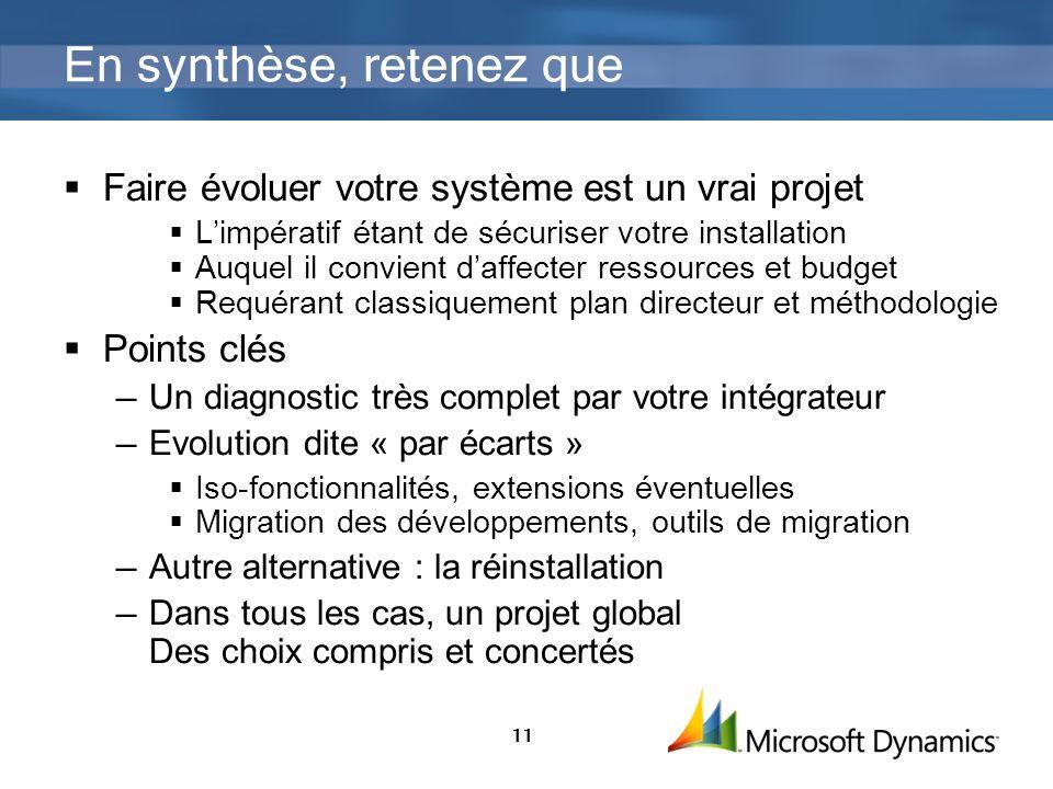 11 En synthèse, retenez que Faire évoluer votre système est un vrai projet Limpératif étant de sécuriser votre installation Auquel il convient daffect