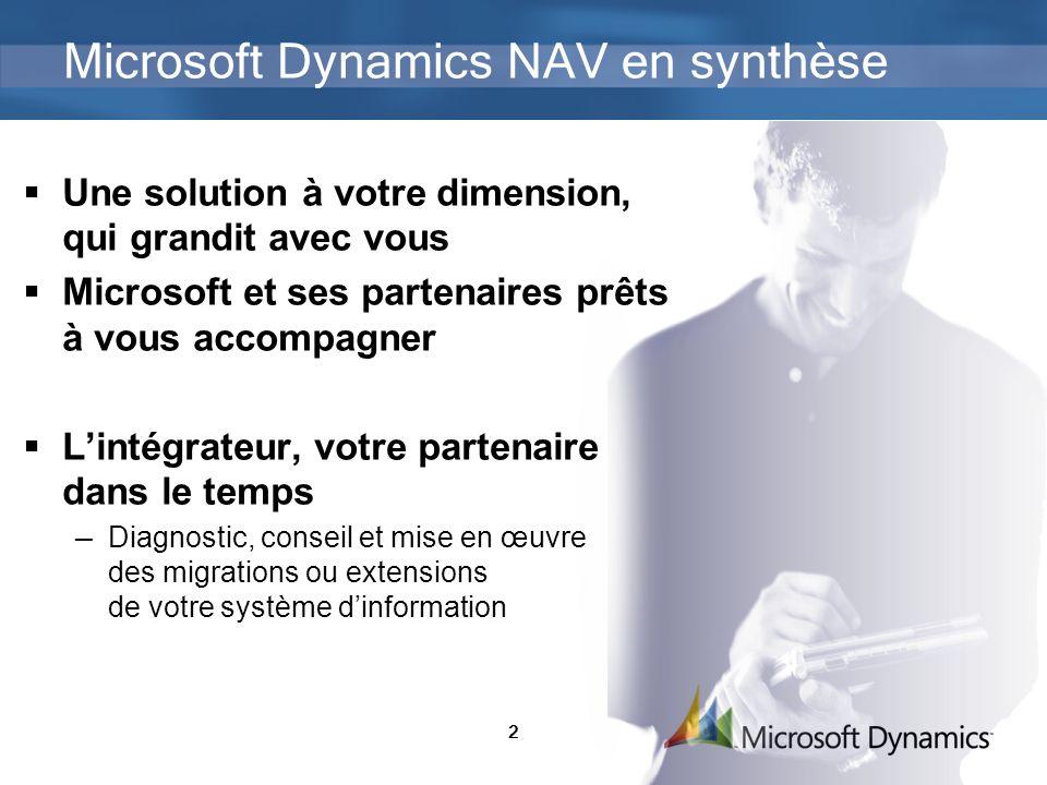 2 Microsoft Dynamics NAV en synthèse Une solution à votre dimension, qui grandit avec vous Microsoft et ses partenaires prêts à vous accompagner Lintégrateur, votre partenaire dans le temps Diagnostic, conseil et mise en œuvre des migrations ou extensions de votre système dinformation