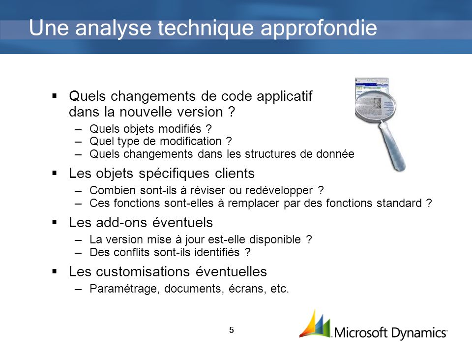 5 Une analyse technique approfondie Quels changements de code applicatif dans la nouvelle version .