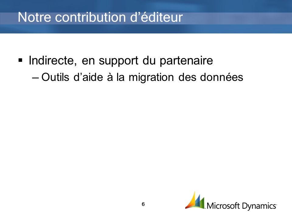 6 Notre contribution déditeur Indirecte, en support du partenaire Outils daide à la migration des données
