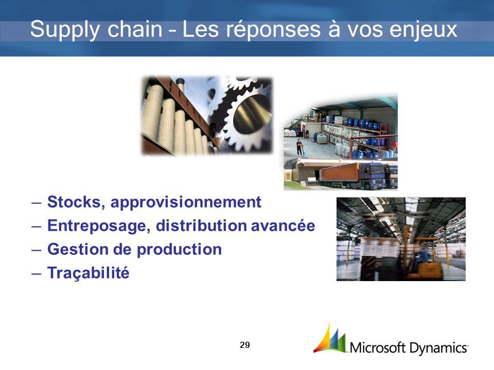 29 Supply chain – Les réponses à vos enjeux Stocks, approvisionnement Entreposage, distribution avancée Gestion de production Traçabilité