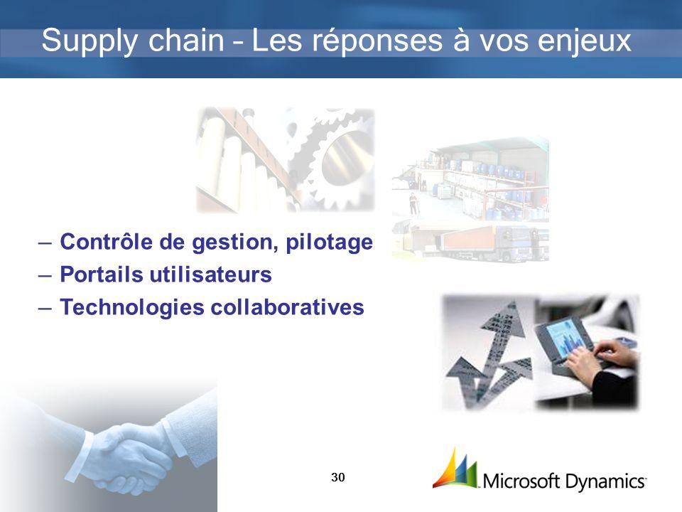 30 Supply chain – Les réponses à vos enjeux Contrôle de gestion, pilotage Portails utilisateurs Technologies collaboratives
