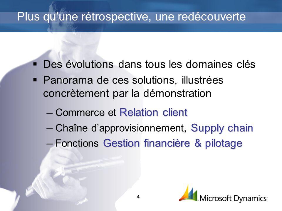 4 Des évolutions dans tous les domaines clés Panorama de ces solutions, illustrées concrètement par la démonstration Relation client Commerce et Relat