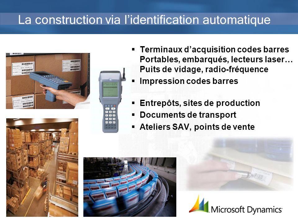 40 La construction via lidentification automatique Terminaux dacquisition codes barres Portables, embarqués, lecteurs laser… Puits de vidage, radio-fr
