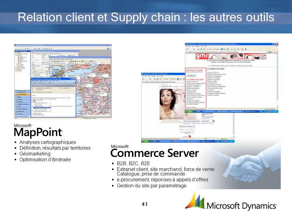 41 Relation client et Supply chain : les autres outils B2B, B2C, B2E Extranet client, site marchand, force de vente Catalogue, prise de commande e-pro