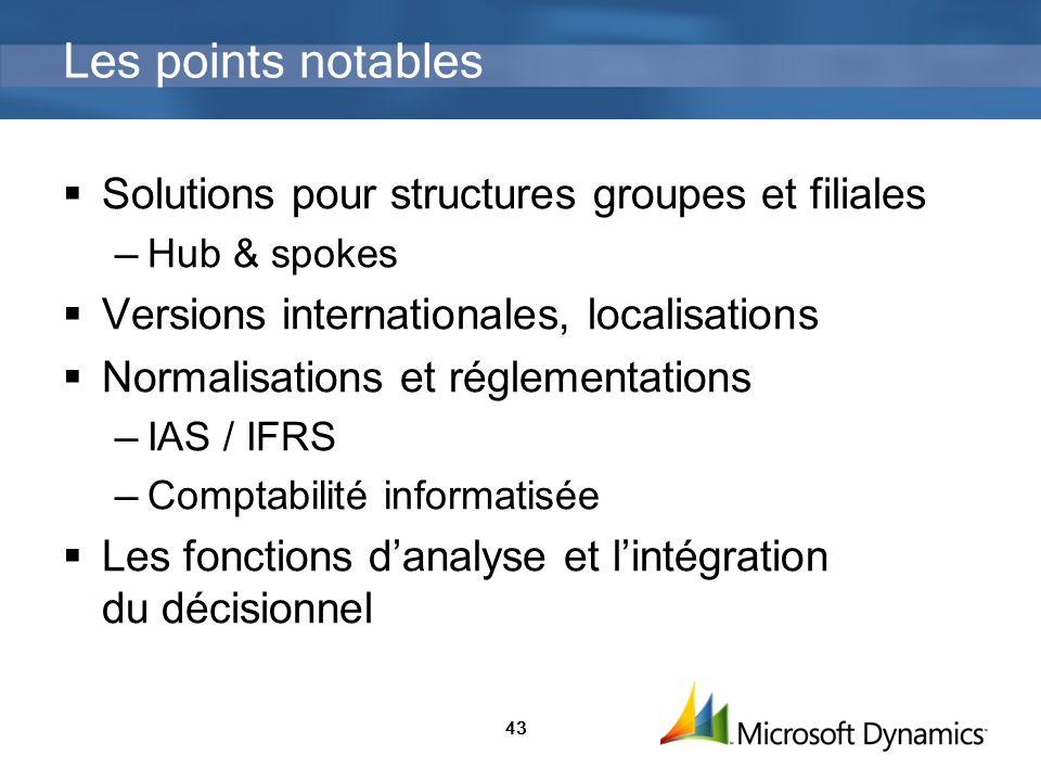 43 Les points notables Solutions pour structures groupes et filiales Hub & spokes Versions internationales, localisations Normalisations et réglementa