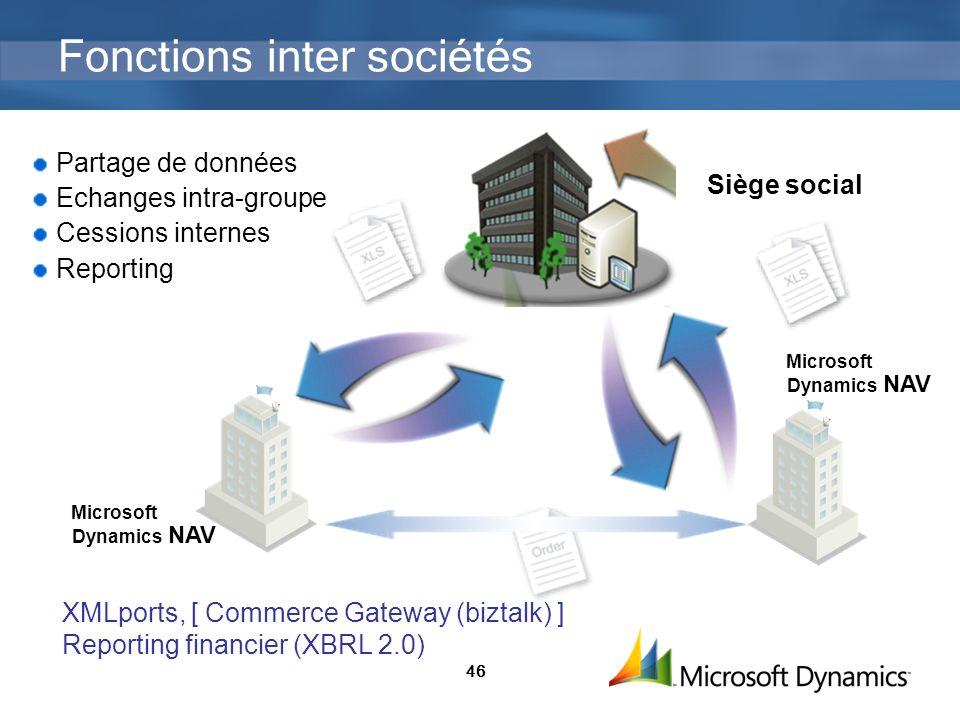 46 Siège social Dynamics NAV Microsoft Partage de données Echanges intra-groupe Cessions internes Reporting Dynamics NAV Microsoft XMLports, [ Commerc