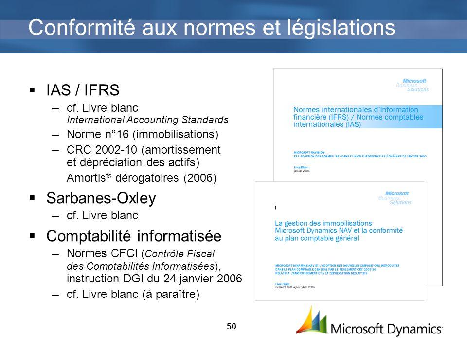 50 Conformité aux normes et législations IAS / IFRS cf. Livre blanc International Accounting Standards Norme n°16 (immobilisations) CRC 2002-10 (amort