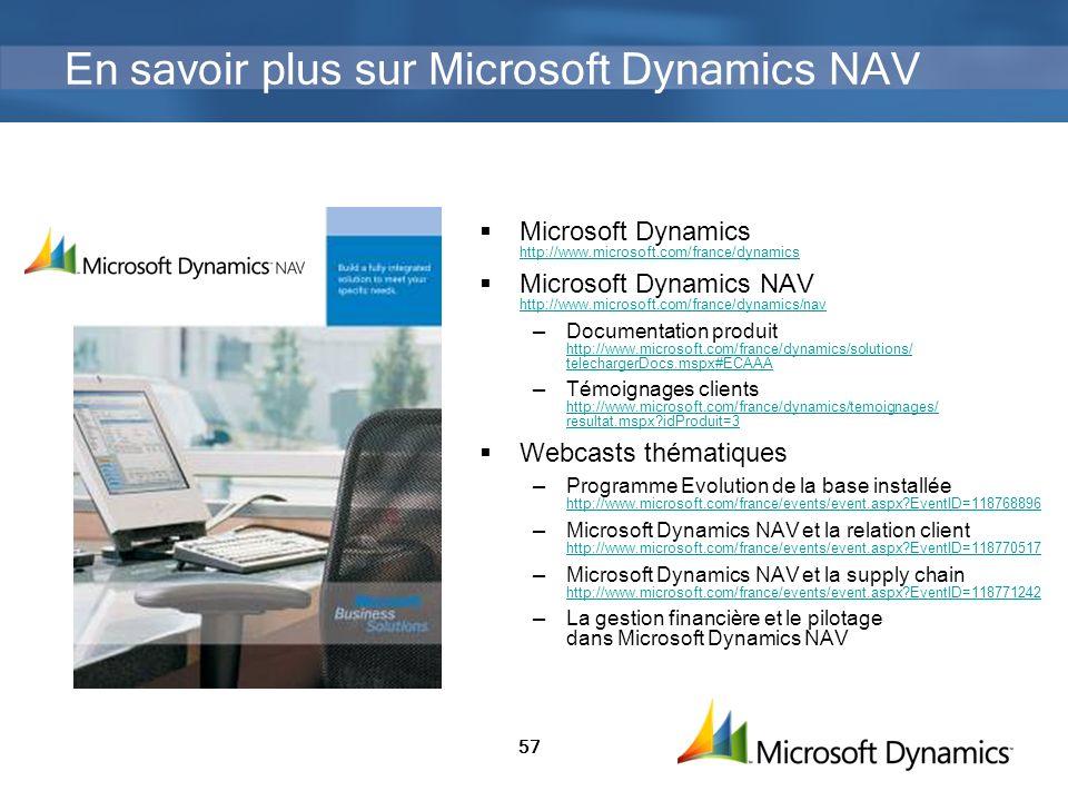 57 En savoir plus sur Microsoft Dynamics NAV Microsoft Dynamics http://www.microsoft.com/france/dynamics http://www.microsoft.com/france/dynamics Micr
