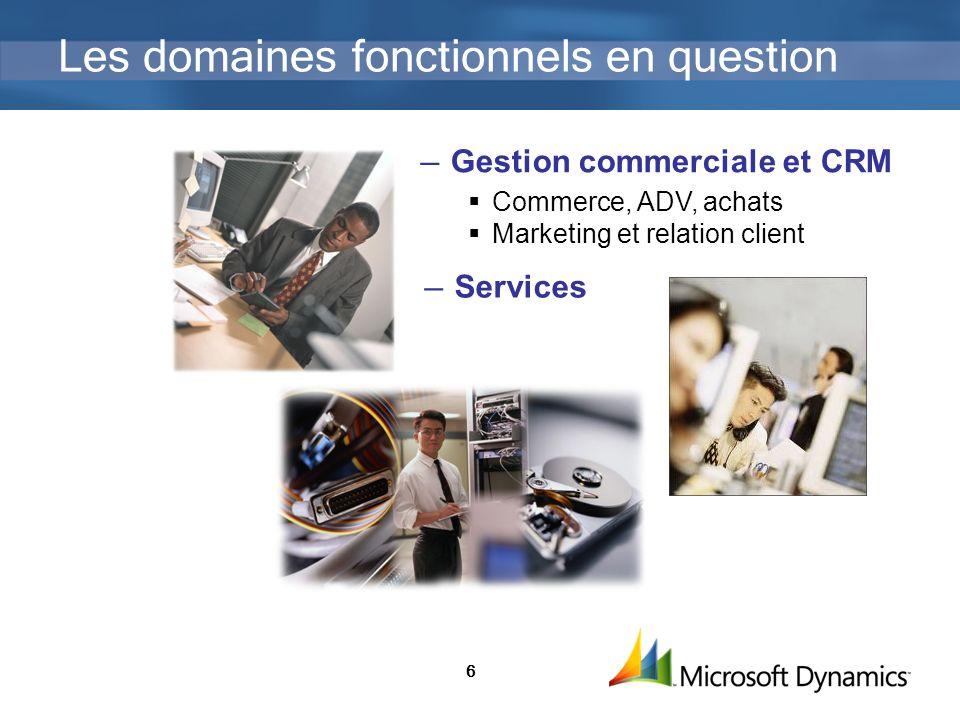 6 Les domaines fonctionnels en question Gestion commerciale et CRM Commerce, ADV, achats Marketing et relation client Services