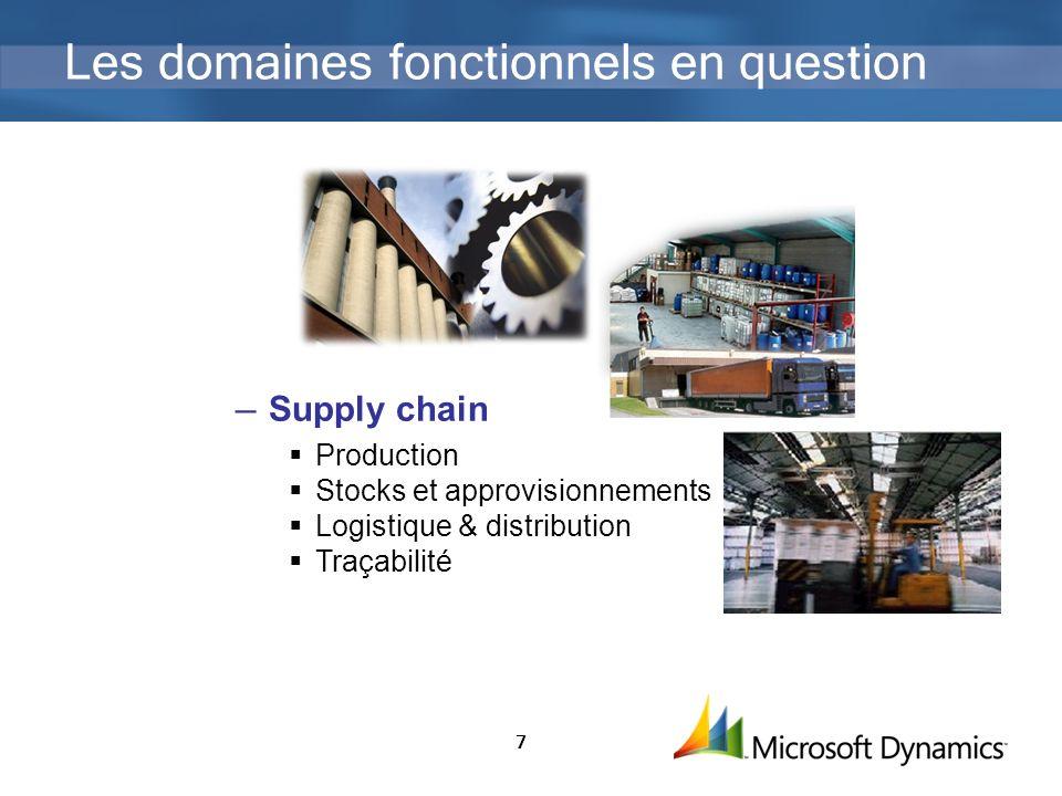 7 Les domaines fonctionnels en question Supply chain Production Stocks et approvisionnements Logistique & distribution Traçabilité