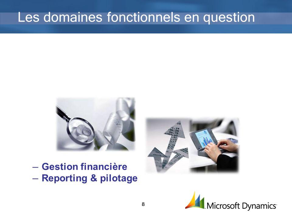 8 Les domaines fonctionnels en question Gestion financière Reporting & pilotage