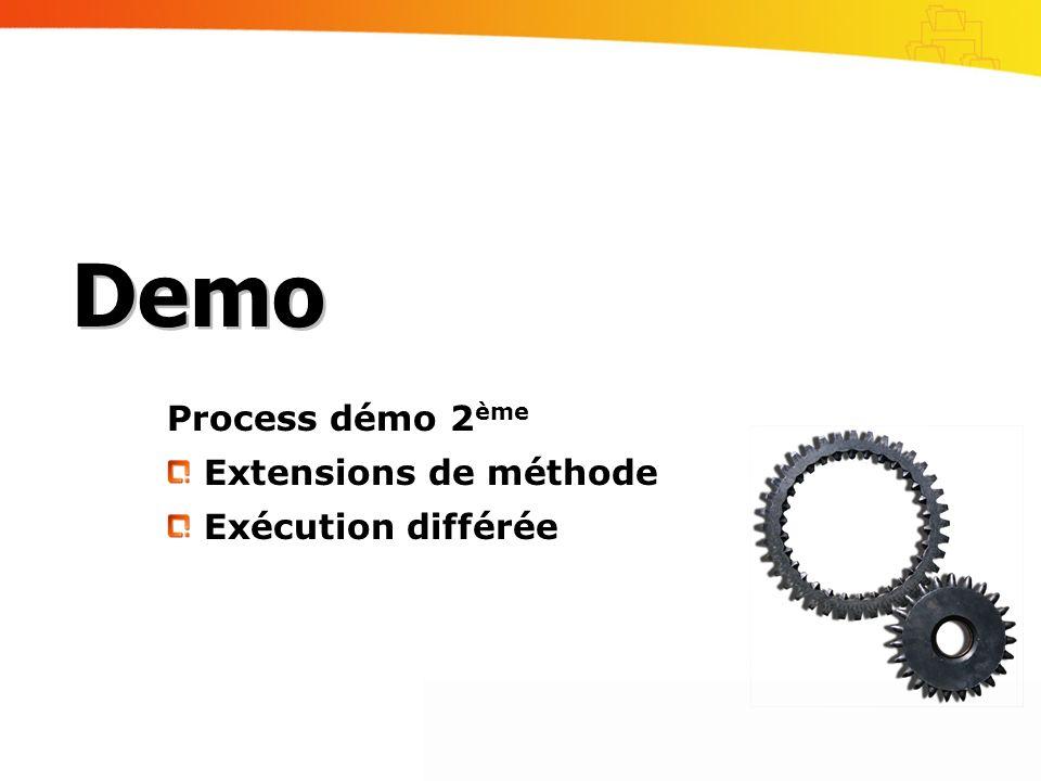 Process démo 2 ème Extensions de méthode Exécution différée Demo
