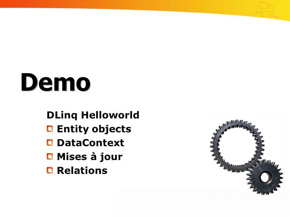 DLinq Helloworld Entity objects DataContext Mises à jour Relations Demo