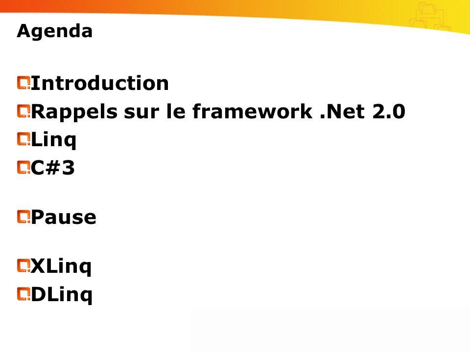 Agenda Introduction Rappels sur le framework.Net 2.0 Linq C#3 Pause XLinq DLinq