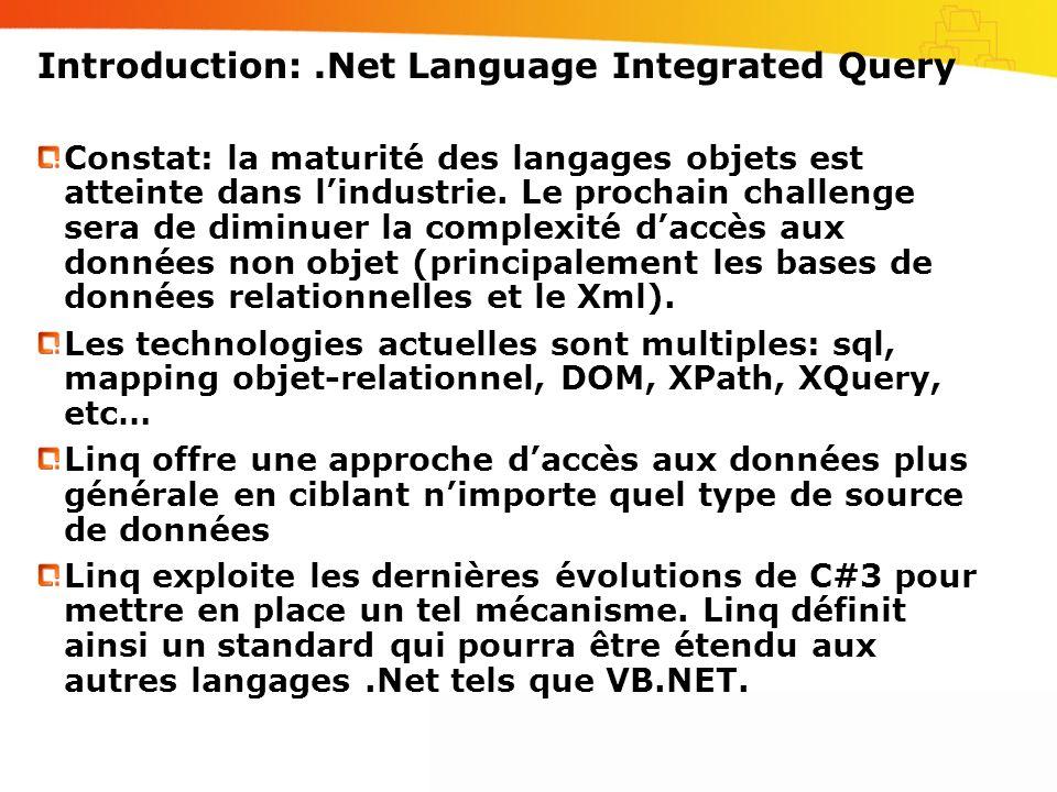 Introduction:.Net Language Integrated Query Constat: la maturité des langages objets est atteinte dans lindustrie.