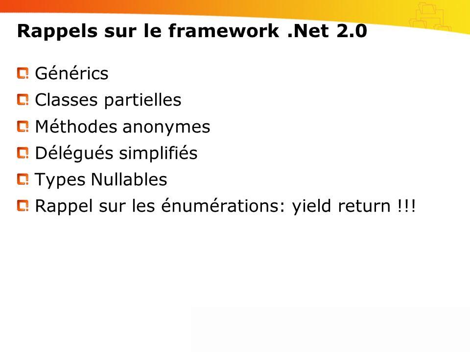 Rappels sur le framework.Net 2.0 Générics Classes partielles Méthodes anonymes Délégués simplifiés Types Nullables Rappel sur les énumérations: yield return !!!
