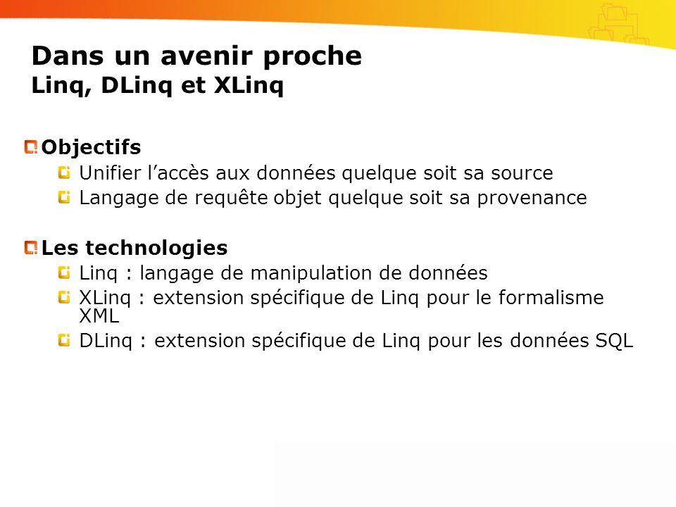 Dans un avenir proche Linq, DLinq et XLinq Objectifs Unifier laccès aux données quelque soit sa source Langage de requête objet quelque soit sa provenance Les technologies Linq : langage de manipulation de données XLinq : extension spécifique de Linq pour le formalisme XML DLinq : extension spécifique de Linq pour les données SQL