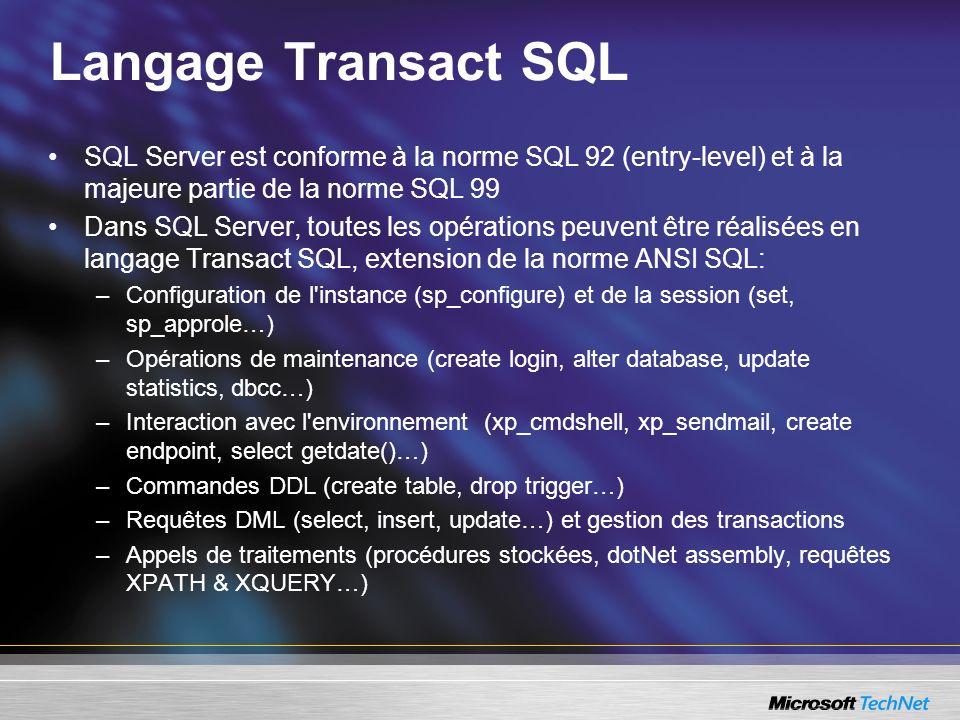 Portage vers SQL Server Utilisation du SQL Server Migration Assistant (SSMA) disponible pour Oracle, Sybase et Access (voir Module 16) Outer Join exclusivement en norme ANSI –Oracle: select * from a, b where a.col = b.col (+) –Sybase: select * from a, b where a.col =* b.col –ANSI: select * from a left outer join b on a.col = b.col Limitation du jeu de résultat –Oracle: select * from (select * from t order by col) where rownum <=5 –SQL Server: select TOP 5 * from t order by col Séquences et énumération –Utilisation de la propriété IDENTITY ou de la fonction NEWID()