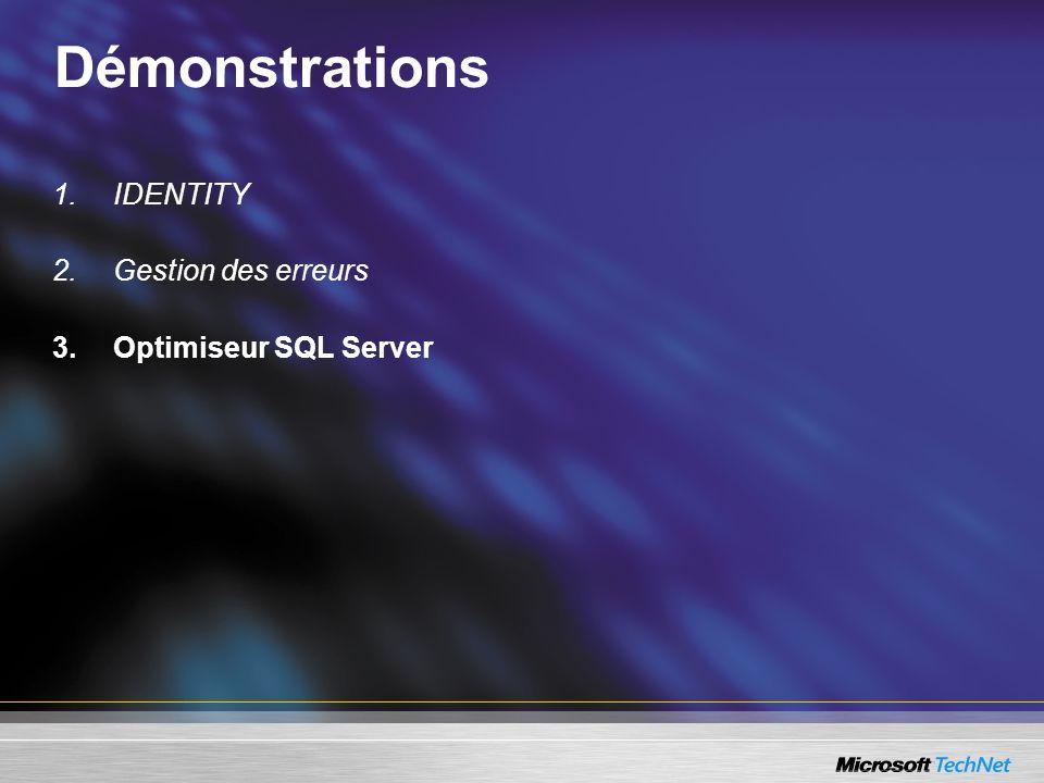 Ressources SQL Server 2005 Le site français sur SQL Server 2005 (livres blancs, webcasts en français) http://www.microsoft.com/france/sql/sql2005 Blog francophone (actualités, trucs & astuces en français) http://blogs.technet.com/patricg Le site Technet français (ressources techniques en français) http://www.microsoft.com/france/technet/produits/sql/2005 Le site global sur SQL Server 2005 http://www.microsoft.com/sql/2005 Le site Technet global (SQL Server TechCenter) http://www.microsoft.com/technet/prodtechnol/sql/ SQL Server Developer Center http://msdn.microsoft.com/sql/2005/